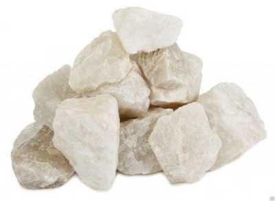 Камень для бани Кварц белый колотый 10 кг, ведро
