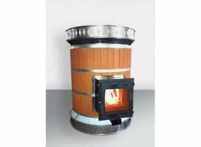 Кирпичная печь банная большая (круглая) РУССКАЯ БАНЯ в кирпичной облицовке (КДМ) 18-24 м3