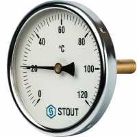 """STOUT  Термометр биметаллический с погружной гильзой. Корпус Dn 100 мм, гильза 75 мм 1/2"""""""