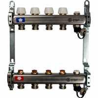STOUT  Коллектор из нержавеющей стали без расходомеров, с клапаном вып. воздуха и сливом 4 вых.